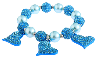 LSB0041- Wholesale & B2B Teal Crystal Bracelet With Heart Charms Supplier & Manufacturer