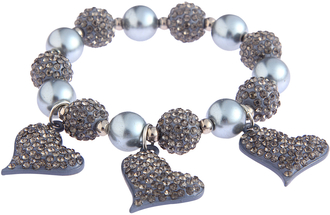LSB0041- Grey Crystal Bracelet With Heart Charms