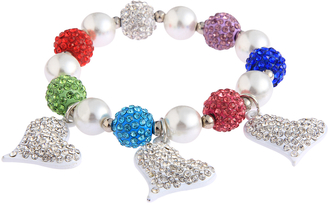 LSB0041- Multi Colour Crystal Bracelet With Heart Charms