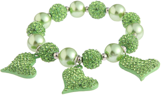 LSB0041- Green Crystal Bracelet With Heart Charms