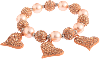 LSB0041- Champagne Crystal Bracelet With Heart Charms