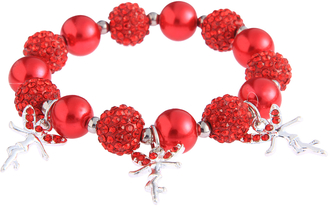 LSB0042- Red Crystal Bracelet With Fairy Charms