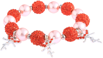 LSB0042- Orange Crystal Bracelet With Fairy Charms