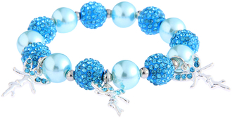 LSB0042- Teal Crystal Bracelet With Fairy Charms