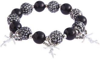 LSB0042- Black Crystal Bracelet With Fairy Charms