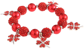 LSB0043- Wholesale & B2B Red Crystal Bracelet With Butterfly Charms Supplier & Manufacturer