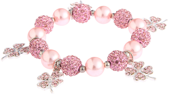 LSB0043- Pink Crystal Bracelet With Butterfly Charms