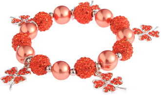 LSB0043- Orange Crystal Bracelet With Butterfly Charms