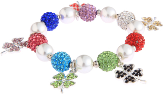 LSB0043- Multi Colour Crystal Bracelet With Butterfly Charms