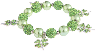 LSB0043- Green Crystal Bracelet With Butterfly Charms