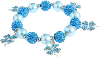LSB0043- Teal Crystal Bracelet With Butterfly Charms