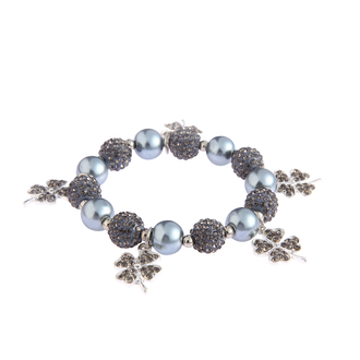 LSB0043- Grey Crystal Bracelet With Butterfly Charms