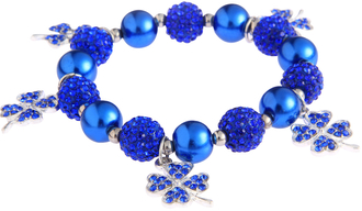 LSB0043- Blue Crystal Bracelet With Butterfly Charms