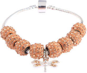 LSB0045- Champagne Crystal Bracelet With Dragonfly Charm