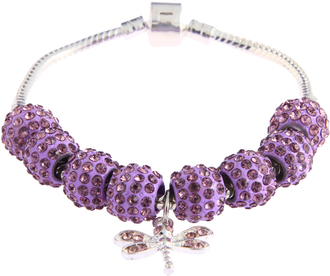 LSB0045- Purple Crystal Bracelet With Dragonfly Charm
