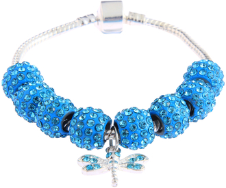 LSB0045- Teal Crystal Bracelet With Dragonfly Charm
