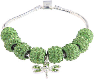 LSB0045- Green Crystal Bracelet With Dragonfly Charm