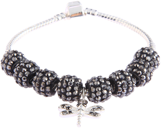 LSB0045- Black Crystal Bracelet With Dragonfly Charm
