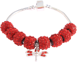 LSB0045- Red Crystal Bracelet With Dragonfly Charm
