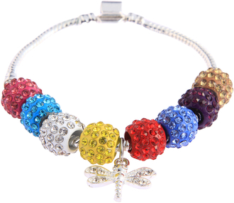 LSB0045- Multi Colour Crystal Bracelet With Dragonfly Charm