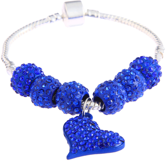 LSB0046- Blue Crystal Bracelet With Heart Charm