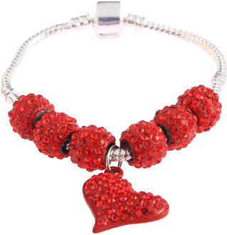 LSB0046- Red Crystal Bracelet With Heart Charm