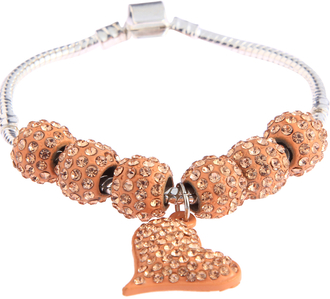 LSB0046- Champagne Crystal Bracelet With Heart Charm