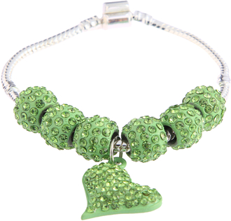 LSB0046- Green Crystal Bracelet With Heart Charm