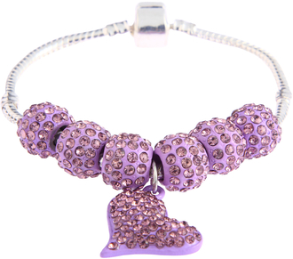 LSB0046- Purple Crystal Bracelet With Heart Charm