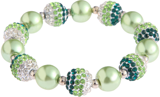 LSB0047- Green Shamballa Bracelet Crystal-Disco Ball Friendship Bead