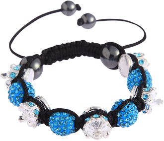 LSB0031-Teal Red Crystal Disco Ball Bead Bracelet