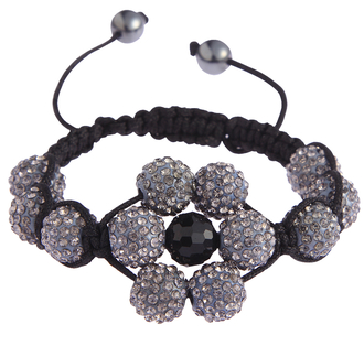 LSB0033-Grey Shamballa Bracelet Crystal-Disco Ball Friendship Bead