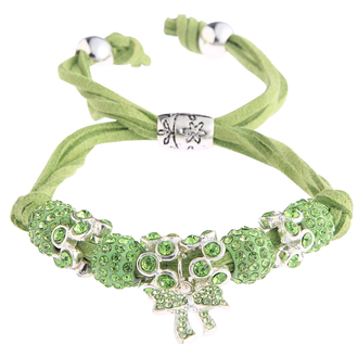 LSB0034- Green Crystal Bracelet With Butterfly Charm