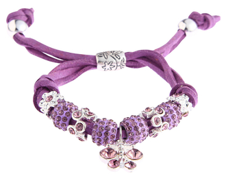LSB0036- Purple Crystal Bracelet With Dragonfly Charm