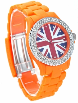 LSW008- Wholesale & B2B Orange Diamante Union Jack Watch Supplier & Manufacturer