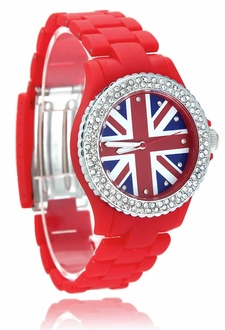 LSW008- Wholesale & B2B Red Diamante Union Jack Watch Supplier & Manufacturer