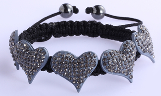 LSB0024-Grey Crystal Heart Shaped Bracelet
