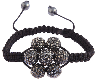 LSB0032-Grey Shamballa Bracelet Crystal-Disco Ball Friendship Bead