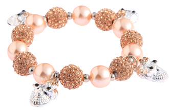 LSB0040- Wholesale & B2B  Champagne Crystal Bracelet With Skull Charms Supplier & Manufacturer