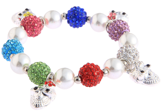 LSB0040- Wholesale & B2B Multi Colour Crystal Bracelet With Skull Charms Supplier & Manufacturer