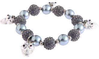 LSB0040- Wholesale & B2B Grey Crystal Bracelet With Skull Charms Supplier & Manufacturer