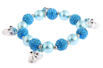 LSB0040- Teal Crystal Bracelet With Skull Charms