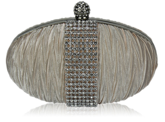 LSE0044 - Nude Ruched Satin Clutch With Crystal Trim