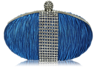LSE0044 - Teal Ruched Satin Clutch With Crystal Trim