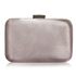 Grey Crystal Satin Rouched Brooch Hard Case Evening Bag