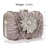 LSE006 - Grey Gorgeous Crystal Satin Rouched Brooch Hard Case Grey Evening Bag