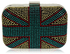 LSE00156- Women's Gold Union Jack Box Clutch
