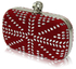LSE00168-Red Studded Clutch Bag With Crystal-Encrusted Skull Clasp