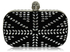 LSE00168- Black/White Studded Clutch Bag With Crystal-Encrusted Skull Clasp