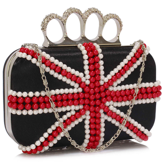 LSE00169 - Wholesale & B2B Black Knuckle Rings Clutch With Crystal Decoration Supplier & Manufacturer